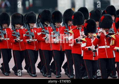 Trooping the Colour . . London, UK . . 13.06.2015 Coldstream Guards in full ceremonial dress marching at the Trooping - Stock Photo