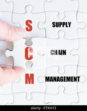 Hand of a business man completing the puzzle with the last missing piece.Concept image of Business Acronym SCM as - Stock Photo