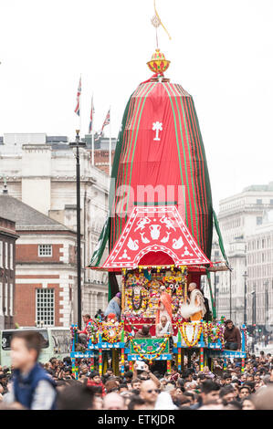 London, UK. 14 June 2015. The chariot (this year one, usually three) follows the procession passing down Piccadilly, - Stock Photo