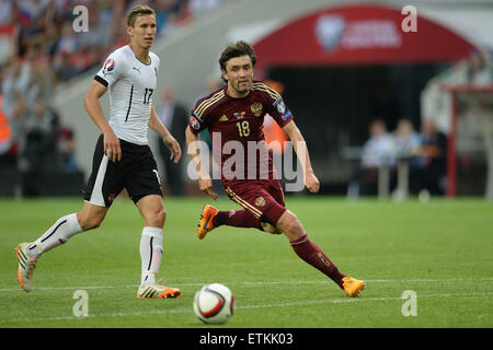 Moscow, Russia. 14th June, 2015. Yury Zhirkov (R) of Russia competes during the UEFA Euro 2016 qualifying soccer - Stock Photo