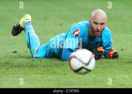 Moscow, Russia. 14th June, 2015. Austria's goalkeeper Robert Almer seen in the 2016 UEFA European Championship Qualifying - Stock Photo