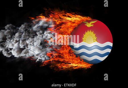 Concept of speed - Flag with a trail of fire and smoke - Kiribati - Stock Photo