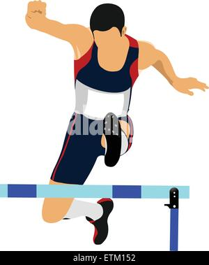Illustration of a track and field athlete running jumping the hurdles. - Stock Photo