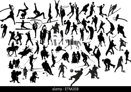Collection of black and white sport silhouettes. Vector illustration - Stock Photo