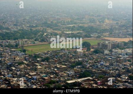 View of Jaipur from Madhavendra Bhawan, Nahargarh Fort, Jaipur, Rajasthan, India - Stock Photo