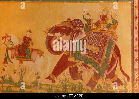 Elephant riding. Painting. Madhavendra Bhawan, Nahargarh Fort, Jaipur, Rajasthan, India - Stock Photo