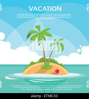 Summer Vacation Holiday Tropical Ocean Island With Palm Tree - Stock Photo