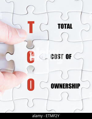 Hand of a business man completing the puzzle with the last missing piece.Concept image of Business Acronym TCO as - Stock Photo