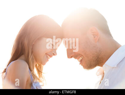 happy father and child girl having fun - Stock Photo