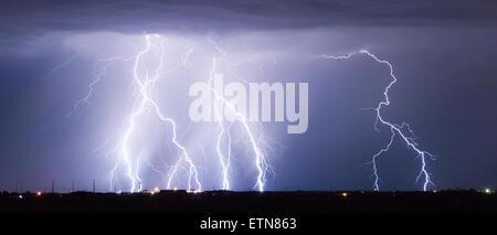 Panorama of lightning storm, Arizona, USA - Stock Photo