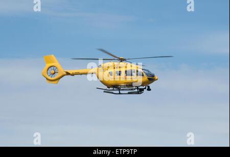 EC145T- 2 on crew training flight at Dalcross Airport Inverness Scotland.  SCO 9868. - Stock Photo