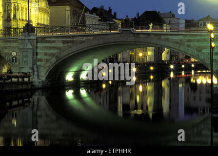 BEL, Belgium, Gent, Saint Michael bridge across the river Leie.  BEL, Belgium, Gent, St. Michaelsbruecke ueber die - Stock Photo