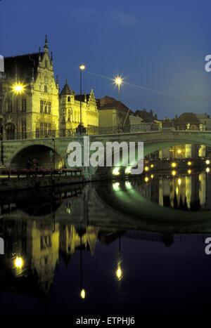 BEL, Belgium, Gent, Saint Michael bridge across the river Leie.  BEL, Belgium, Gent, St. Michaelsbruecke ueber die - Stock Photo