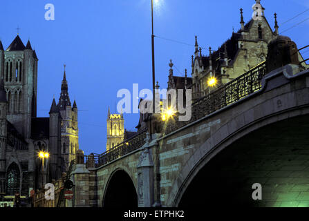 BEL, Belgium, Gent, Saint Niklaas church, belfry tower, St. Bavo Cathedral and St. Michael bridge.  BEL, Belgium, - Stock Photo
