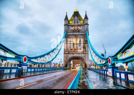 Tower bridge in London, Great Britain in the morning - Stock Photo