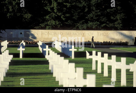 BEL, Belgium, US military cemetery Henrie-Chapelle near Liege and Aachen.  BEL, Belgien, der US-Soldatenfriedhof - Stock Photo