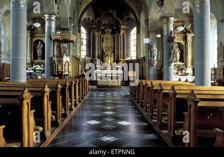 BEL, Belgium, Eastbelgium, the Hubertus church in the village Lontzen.  BEL, Belgien, Ostbelgien, die Hubertuskirche - Stock Photo