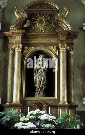 BEL, Belgium, Eastbelgium, statue of Virgin Mary in the Hubertus church in the village Lontzen.  BEL, Belgien, Ostbelgien, - Stock Photo