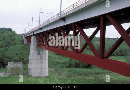 BEL, Belgium, Eastbelgium, Hauset-Hergenrath, railroad bridge, Hammerbuecke, Hammer bridge,  railroad track for - Stock Photo