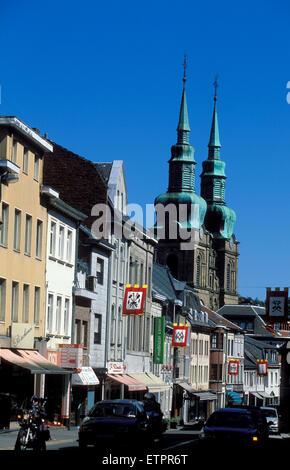 BEL, Belgium, Eastbelgium, Eupen, houses at the Klosterstreet, church St. Nikolaus.  BEL, Belgien, Ostbelgien, Eupen, - Stock Photo