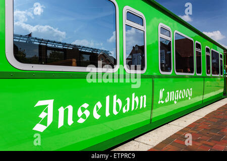 Lettering 'Inselbahn Langeoog' on the carriage of the island train, detail, island Langeoog, East Frisian island, - Stock Photo