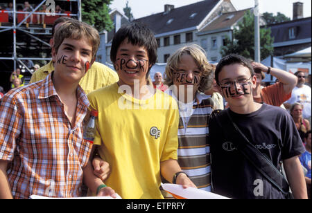 BEL, Belgium, Eastbelgium, Eupen, fans of the band Sportfreunde Stiller at the open air music festival Musik Marathon - Stock Photo
