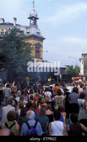 BEL, Belgium, Eastbelgium, Eupen, the open air music festival Musik Marathon at the Gospertstreet.  BEL, Belgien, - Stock Photo