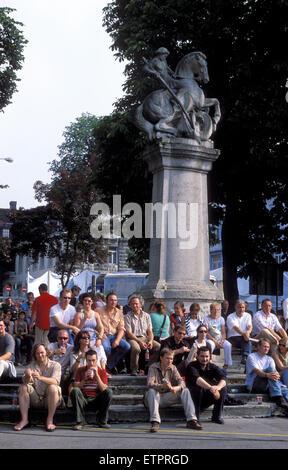 BEL, Belgium, Eastbelgium, Eupen, listeners at the open air music festival Musik Marathon at the Werthplatz, war - Stock Photo