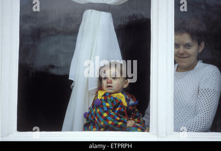 BEL, Belgium, Eastbelgium, Eupen, carnival, carnival monday, child and woman at a window.  BEL, Belgien, Ostbelgien, - Stock Photo