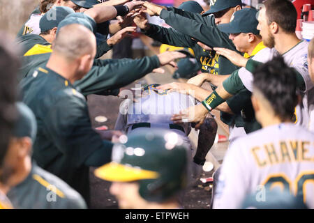June 12 2015: the Oakland dugout does it's usual home run celebration in the game between the Oakland A's and Los - Stock Photo