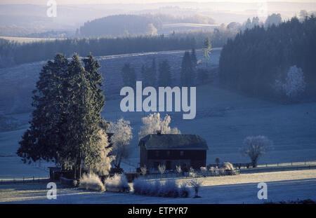 BEL, Belgium, Eastbelgium, winter landscape near Burg-Reuland, hoarfrost.  BEL, Belgien, Ostbelgien, Winterlandschaft - Stock Photo