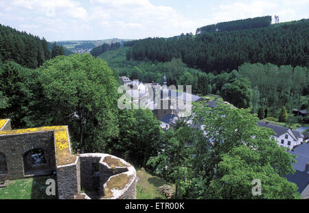 BEL, Belgium, Eastbelgium, view from the castle to the city of Burg Reuland.  BEL, Belgien, Ostbelgien, Blick von - Stock Photo