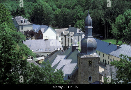 BEL, Belgium, Eastbelgium, view from the castle to the city of Burg Reuland with the Stephanus church.  BEL, Belgien, - Stock Photo