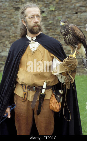 BEL, Belgium, Eastbelgium, castle festivity in Burg Reuland, falconer with a desert buzzard.  BEL, Belgien, Ostbelgien, - Stock Photo