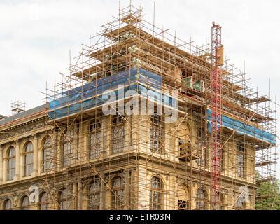 Fragment of scaffolding in Prague - Stock Photo