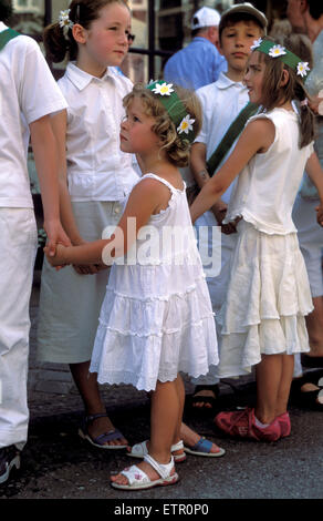 BEL, Belgium, Eastbelgium, Malmedy, pageant of girls and boys at the 24th of June, Rondes de la Saint-Jean.  BEL, - Stock Photo