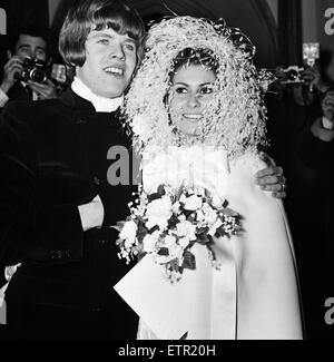 Peter Noone, lead singer of the British pop group Hermans Hermits with his bride Mirielle Strasser during yheir - Stock Photo