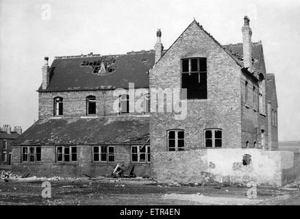 The fire damage wing of St Patricks School, Middlesbrough, 15th October 1963. - Stock Photo