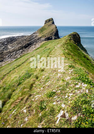 View along the outer portion of Worm's Head, on the Gower Peninsula, Wales - Stock Photo