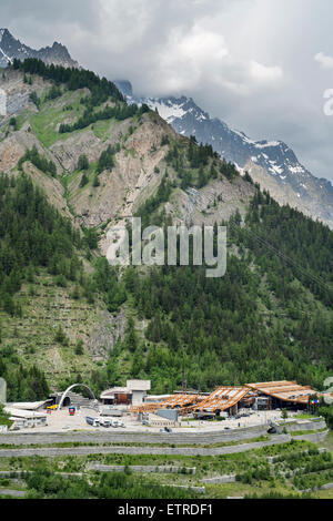 Italian entrance of Mont Blanc Tunnel in the Alps linking Chamonix, Haute-Savoie, France with Courmayeur, Aosta - Stock Photo