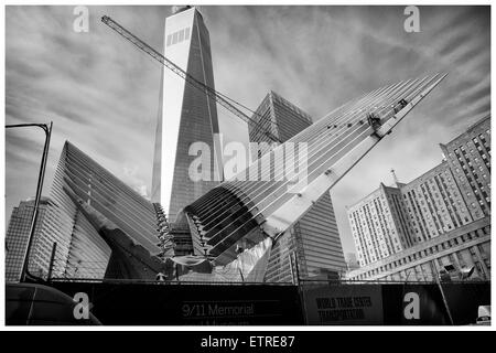 Construction Site near the 1 WTC or One World Trade Center with the World Trade Center Memorial Site in Manhattan, - Stock Photo