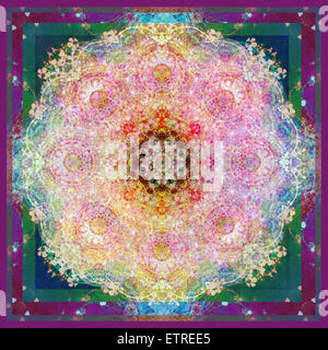 symmetric ornament from flower photographs - Stock Photo
