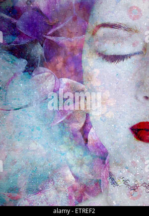 montage of a portrait with flowers and texture - Stock Photo