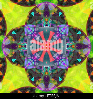 A mandala from flowers, and ornaments, - Stock Photo