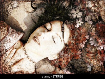 a montage of a portrait of a woman with flowers in her hair in earthy colors - Stock Photo