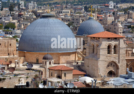 Urban aerial view of the Church of the Holy Sepulchre,Church of the Resurrection, at the old city of Jerusalem, - Stock Photo