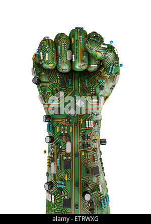 Data fist, 3D render of raised fist made of computer circuit board - Stock Photo