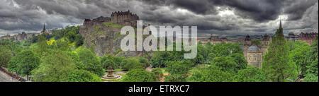 Panorama of Edinburgh Castle, on The Mound, Scotland, UK - Stock Photo