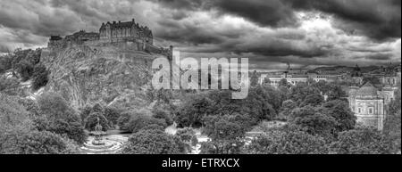 B/W Panorama of Edinburgh Castle, on The Mound, Scotland, UK - Stock Photo