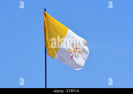 JERUSALEM - MAY 05 2015:Flag of the Holy See in Jerusalem, Israel. Since 1994 the Vatican reiterating demands for - Stock Photo